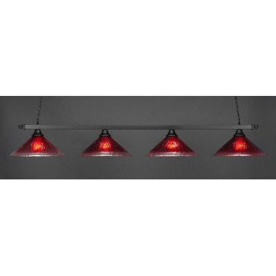 4-Light Billiard Pendant Shade Color: Raspberry