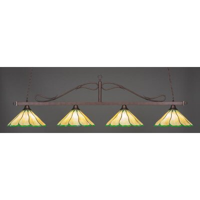 Scroll 4-Light Billiard Pendant Shade Color: Honey Green