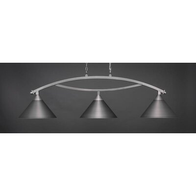 Bow 3-Light Billiard Pendant Base Finish: Brushed Nickel