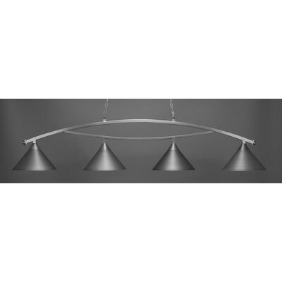 Bow 4-Light Billiard Pendant Base Finish: Brushed Nickel