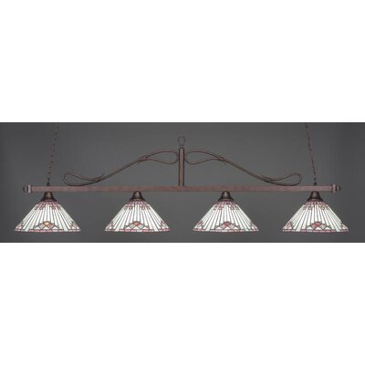 Scroll 4-Light Billiard Pendant Shade Color: Purple