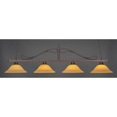 Reba 4-Light Kitchen Island Pendant Shade Color: Cayenne