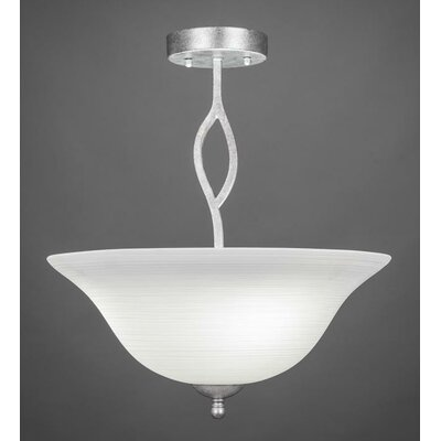 Revo 3-Light Semi Flush Mount Finish: Aged Silver, Shade Color: White Linen