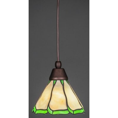 1-Light Mini Pendant Base Finish: Bronze, Shade Color: Honey Brown