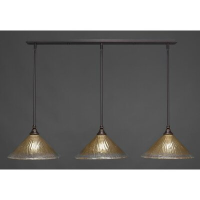 3-Light Kitchen Island Pendant Finish: Brushed Nickel, Shade Color: Wine, Shade Size: 12