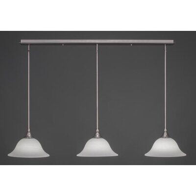 3-Light Kitchen Island Pendant Shade Size: 10, Shade Color: White