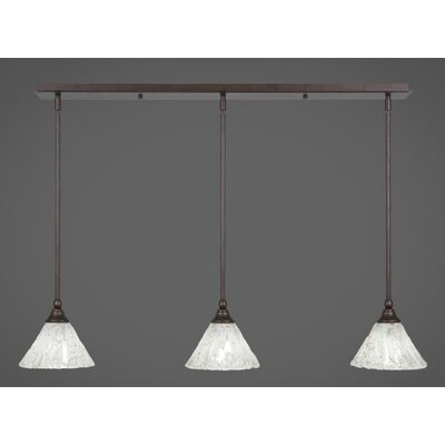 3-Light Kitchen Island Pendant Finish: Brushed Nickel, Shade Color: Italian