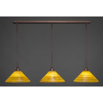 3-Light Kitchen Island Pendant Shade Color: Charcoal, Finish: Dark Granite