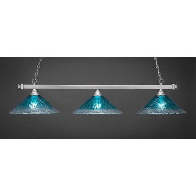 3-Light Billiard Pendant Shade Color: Teal