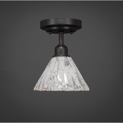 Kash 1-Light Italian Ice Glass Downlight Semi-Flush Mount