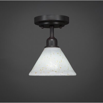 Kash 1-Light Ice Glass Semi-Flush Mount