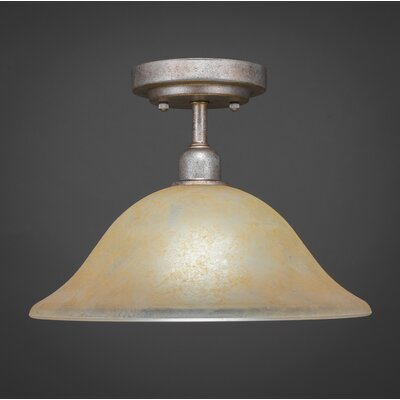 Kash 1-Light Marble Glass Semi-Flush Mount Shade Color: Amber