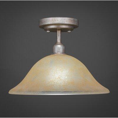 Vintage 1-Light Semi-Flush Mount Shade Color: Amber