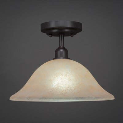 Kash 1-Light Marble Semi-Flush Mount Shade Color: Amber
