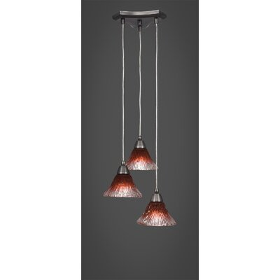 Europa 3-Light Cascade Pendant Shade Color: Raspberry