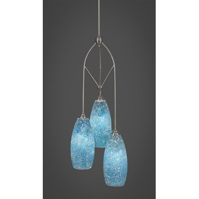 Contempo 3-Light Pendant Shade Color: Turquoise