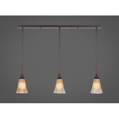 Any 3-Light Kitchen Island Pendant Finish: Bronze, Shade Color: Amber