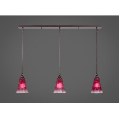 Any 3-Light Kitchen Island Pendant Finish: Bronze, Shade Color: Raspberry