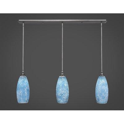 Any 3-Light Kitchen Island Pendant Finish: Brushed Nickel, Shade Color: Turquoise