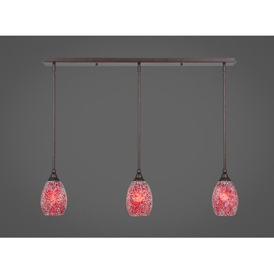 Any 3-Light Kitchen Island Pendant Finish: Bronze, Shade Color: Red