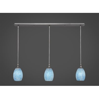 Any 3-Light Kitchen Island Pendant Finish: Brushed Nickel, Shade Color: Turquoise