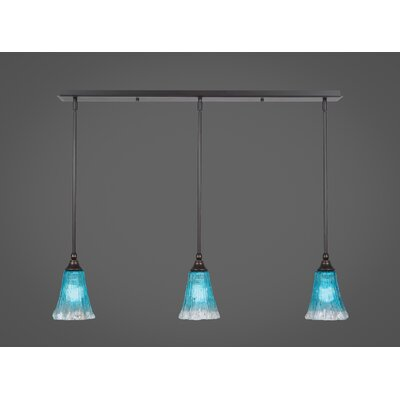 Any 3-Light Kitchen Island Pendant Finish: Dark Granite, Shade Color: Teal