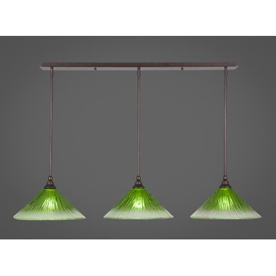 Any 3-Light Kitchen Island Pendant Finish: Bronze, Shade Color: Kiwi Green