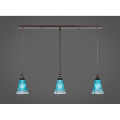 Any 3-Light Kitchen Island Pendant Finish: Bronze, Shade Color: Teal