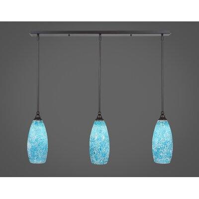 Any 3-Light Kitchen Island Pendant Finish: Dark Granite, Shade Color: Turquoise