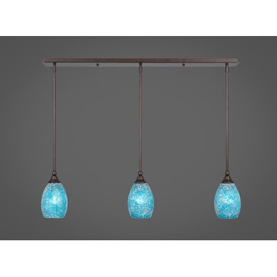 Any 3-Light Kitchen Island Pendant Finish: Bronze, Shade Color: Turquoise