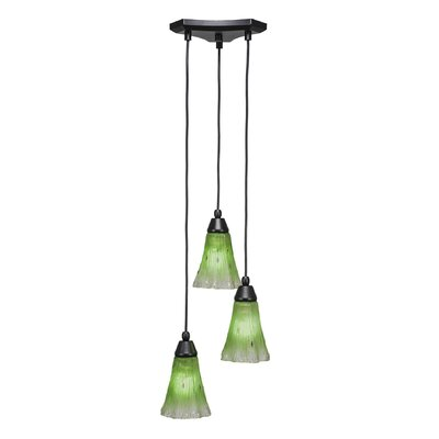 Europa 3-Light Cascade Pendant Shade Color: Fluted Kiwi Green