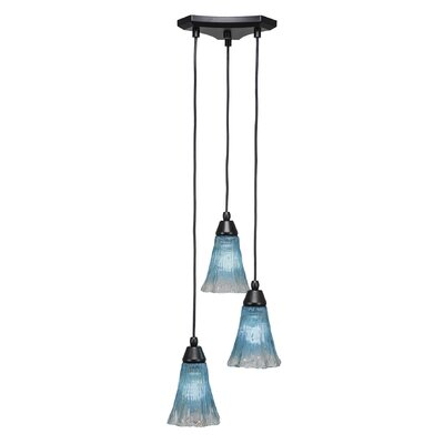 Europa 3-Light Cascade Pendant Shade Color: Fluted Teal