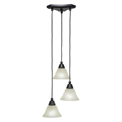 Europa 3-Light Cascade Pendant Shade Color: Amber
