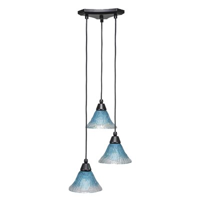 Europa 3-Light Cascade Pendant Shade Color: Teal