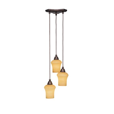 Europa 3-Light Pendant Shade Color: White