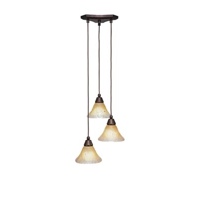 Europa 3-Light Pendant Shade Color: Amber