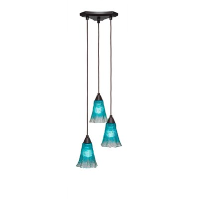 Europa 3-Light Pendant Shade Color: Teal