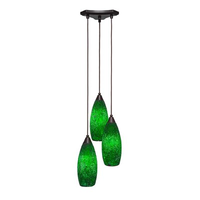 Europa 3-Light Pendant Shade Color: Green