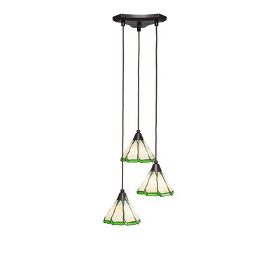 Europa 3-Light Pendant Shade Color: Honey and Hunter Green