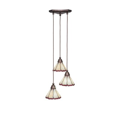 Europa 3-Light Pendant Shade Color: Honey & Burgundy