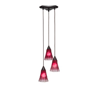 Europa 3-Light Pendant Shade Color: Raspberry