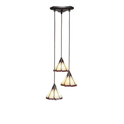 Europa 3-Light Pendant Shade Color: Honey and Burgundy