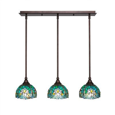 Any 3-Light Kitchen Island Pendant Finish: Dark Granite, Shade Color: Turquoise