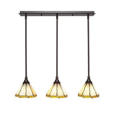 Any 3-Light Kitchen Island Pendant Finish: Dark Granite, Shade Color: Honey and Hunter