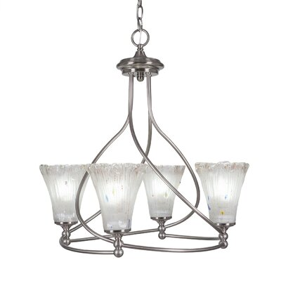 Capri 4-Light Shaded Chandelier Shade Color: Fluted Frosted