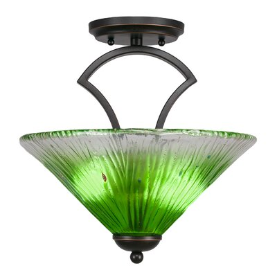 Zilo 2-Light Pendant Finish: Dark Granite, Shade Color: Teal