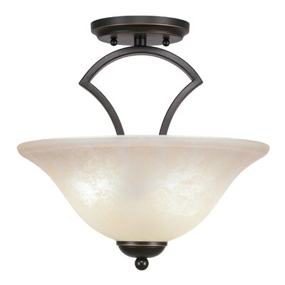 Zilo 2-Light Pendant Shade Color: Amber, Finish: Graphite