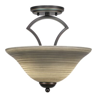 Zilo 2-Light Pendant Shade Color: Gray, Finish: Matte Black