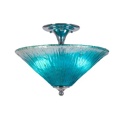 2-Light Semi Flush Mount Finish: Chrome, Shade Color: Teal