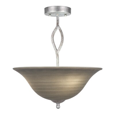 Revo 3-Light Semi Flush Mount Finish: Dark Granite, Shade Color: Cayenne Linen